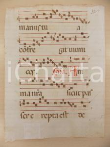 1600 ca ANTIFONARIO ROMANO Pagina manoscritta rosso nero Salmo ANIMA NOSTRA