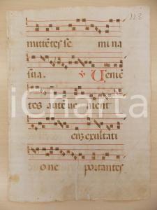 1600 ca ANTIFONARIO ROMANO Pagina manoscritta canti rosso nero Salmo VENIENTES