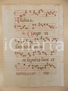 1600 ca ANTIFONARIO ROMANO Pagina manoscritta canti rosso nero Salmo CORPORA