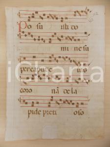 1600 ca ANTIFONARIO ROMANO Pagina manoscritta canti rosso nero Salmo POSUISTI