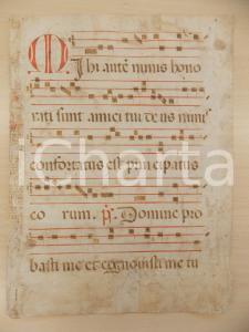 1600 ca ANTIFONARIO ROMANO Pagina manoscritta rosso nero Salmo MIHI Danneggiata