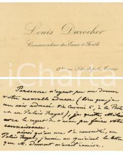 1890 ca TOURS Louis DUROCHER Conservateur des Eaux *Carte de visite AUTOGRAPHE