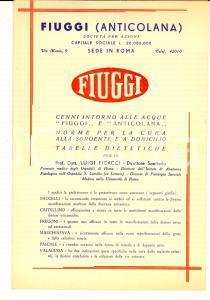1952 FIUGGI (FR) Cure con le acque FIUGGI e Anticolana *Pubblicitario 15x22