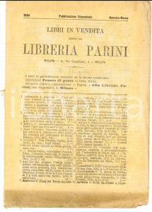 Gennaio-Marzo 1884 MILANO Catalogo libreria PARINI - Libri in vendita