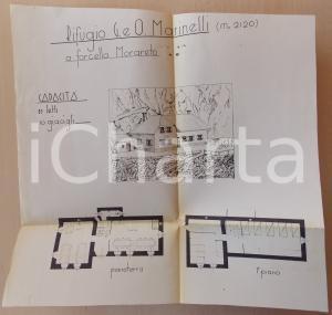 1950 ca FORCELLA MORARET Planimetria rifugio Giovanni e Olinto MARINELLI 40x40