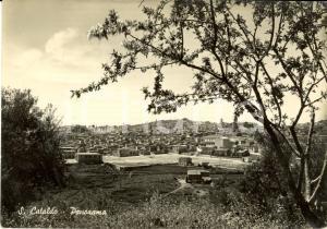 1950 SAN CATALDO (CL) Veduta panoramica paese e dintorni *Cartolina FG VG