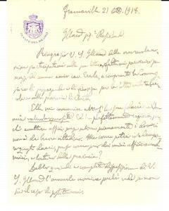 1918 Accettare uffici è subirne i doveri *Autografo sen. Nicola SPACCAPIETRA