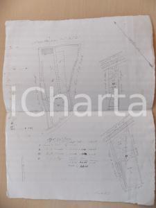 1850 ca NOVENTA PADOVANA Planimetria fondi affittavolo Giacinto FIORIN 30x40