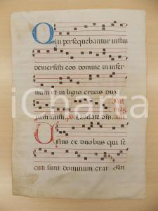 1600 ca ANTIFONARIO ROMANO Pergamena manoscritta rosso nero blu Salmo UNUS