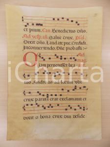 1600 c ANTIFONARIO ROMANO Pergamena manoscritta rosso nero Salmo CUM PERVENISSET