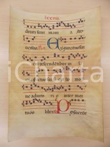 1600 ca ANTIFONARIO ROMANO Pergamena manoscritta rosso nero blu Salmo ESTIMATUS