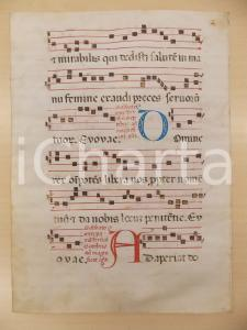1600 ca ANTIFONARIO ROMANO Pergamena manoscritta rosso nero blu Salmo DOMINE REX
