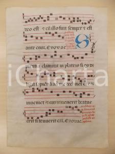 1600 ca ANTIFONARIO ROMANO Pergamena manoscritta rosso nero blu Salmo SAPIENTIA