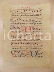 1600 ca ANTIFONARIO ROMANO Pergamena manoscritta rosso nero blu Salmo FILI