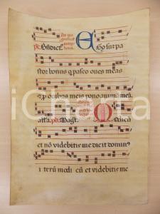 1600 ca ANTIFONARIO ROMANO Pergamena manoscritta rosso nero blu EGO SUM PASTOR