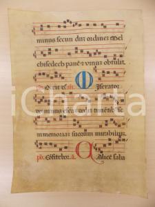 1600 ca ANTIFONARIO ROMANO Pergamena manoscritta rosso nero blu Salmo MISERATOR