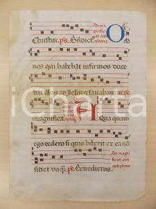 1600 ca ANTIFONARIO ROMANO Pergamena manoscritta rosso nero blu Salmo AQUA