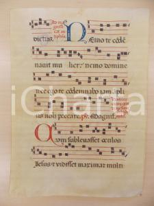 1600 ca ANTIFONARIO ROMANO Pergamena manoscritta rosso nero blu Salmo NEMO TE