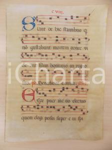 1600 ca ANTIFONARIO ROMANO Pergamena manoscritta rosso nero blu Salmo ECCE PUER