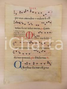 1600 ca ANTIFONARIO ROMANO Pergamena manoscritta rosso nero blu Salmo MULIERES