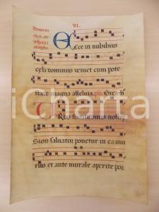 1600 ca ANTIFONARIO ROMANO Pergamena manoscritta rosso nero blu Salmo URBS