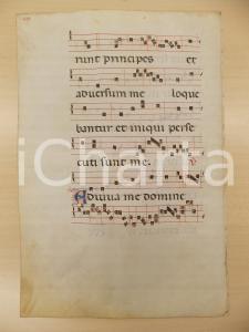 1600 ca ANTIFONARIO ROMANO Pergamena manoscritta rosso nero blu Salmo ADIUVA ME