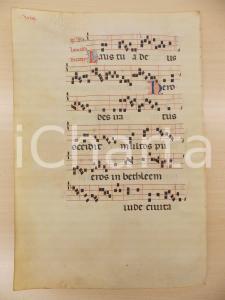 1600 ca ANTIFONARIO ROMANO Pergamena manoscritta rosso nero blu Salmo HERODES