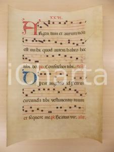 1600 ca ANTIFONARIO ROMANO Pergamena manoscritta rosso nero blu Salmo ARGENTUM
