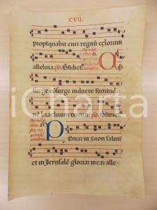 1600 ca ANTIFONARIO ROMANO Pergamena manoscritta rosso nero blu Salmo CONSURGE