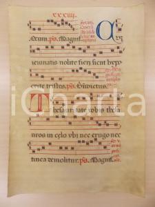 1600 ca ANTIFONARIO ROMANO Pergamena manoscritta rosso nero blu THESAURIZATE