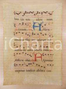 1600 ca ANTIFONARIO ROMANO Pergamena manoscritta rosso nero blu Salmo FLUMINIS