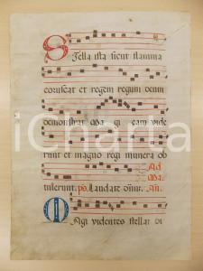 1600 ca ANTIFONARIO ROMANO Pergamena manoscritta rosso nero blu Salmo STELLA