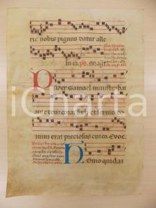 1600 ca ANTIFONARIO ROMANO Pergamena manoscritta rosso nero blu Salmo PUER
