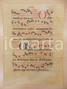 1600 ca ANTIFONARIO ROMANO Pergamena manoscritta rosso nero blu Salmo OBSECRO