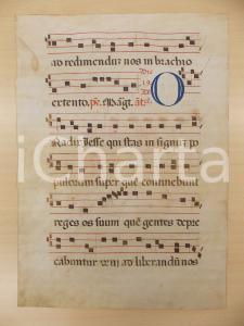 1600 ca ANTIFONARIO ROMANO Pergamena manoscritta rosso nero blu O RADIX IESSE