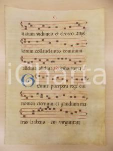 1600 ca ANTIFONARIO ROMANO Pergamena manoscritta rosso nero blu Salmo GENUIT