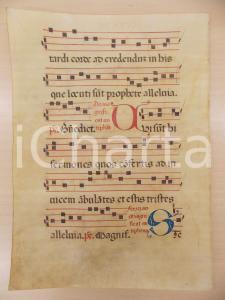 1600 ca ANTIFONARIO ROMANO Pergamena manoscritta rosso nero blu Salmo QUI SUNT