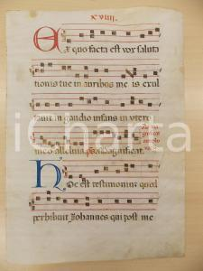 1600 ca ANTIFONARIO ROMANO Pergamena manoscritta rosso nero blu Salmo EX QUO