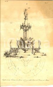 1857 MILANO A. F. ZUCCARI Progetto fontana in piazza Duomo *Planimetria a stampa