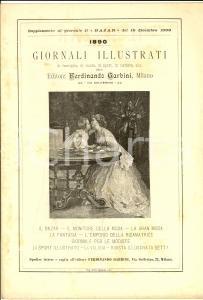 1890 MILANO Ed. Ferdinando GARBINI Pieghevole pubblicitario giornali illustrati