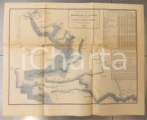 1885 FRANCE Tonnage voies navigables 1883 par marchandises - Nord *Planche n°15