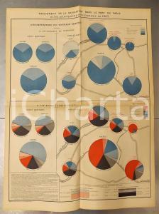 1885 FRANCE Navigation en 1883 ports maritimes français *Planche n°17 49x66 cm