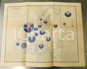 1885 FRANCE Commerce extérieur des principaux Pays *Planche n°19 66x53 cm