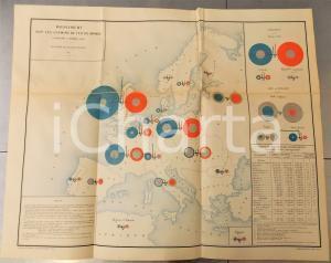 1885 CHEMINS DE FER Mouvements dans le monde en 1883 *Planche n°7 49x66 cm