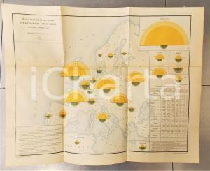 1885 CHEMINS DE FER Exploitation dans le monde en 1883 *Planche n°10 66x53