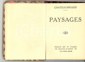 1915 ca CHATEAUBRIAND Paysages *Librairie PAYOT PARIS Bibliothèque miniature