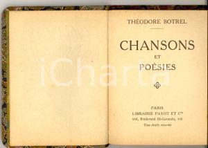 1915 Théodore BOTREL Chansons et poésies *Librairie PAYOT Bibliothèque miniature