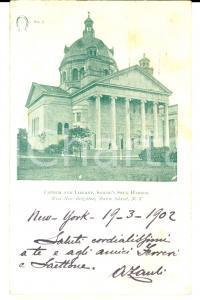 1902 NEW YORK Church and library *Cartolina ing. Antonio ZAULI FP VG
