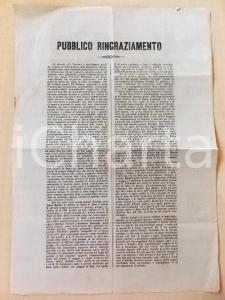 1870 PIEVE DI BONO (TN) Ringraziamento ai pastori del LOMBARDO-VENETO *Manifesto