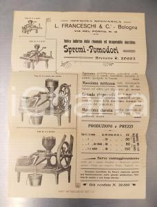 1910 BOLOGNA Officina meccanica FRANCESCHI Macchina spremi-pomodori *Manifesto